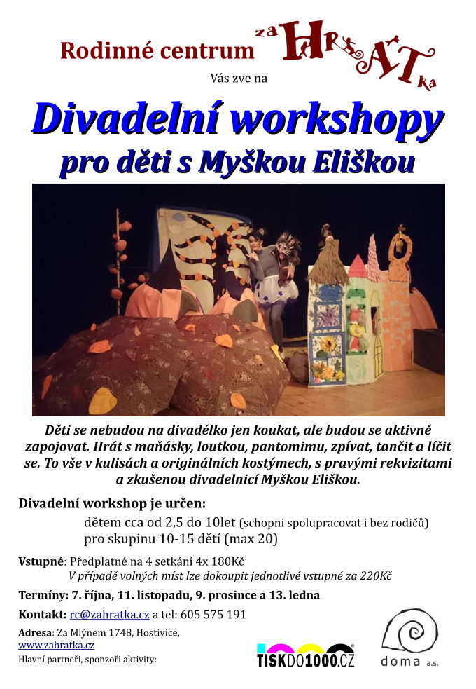 Divadelní workshopy Myška Eliška