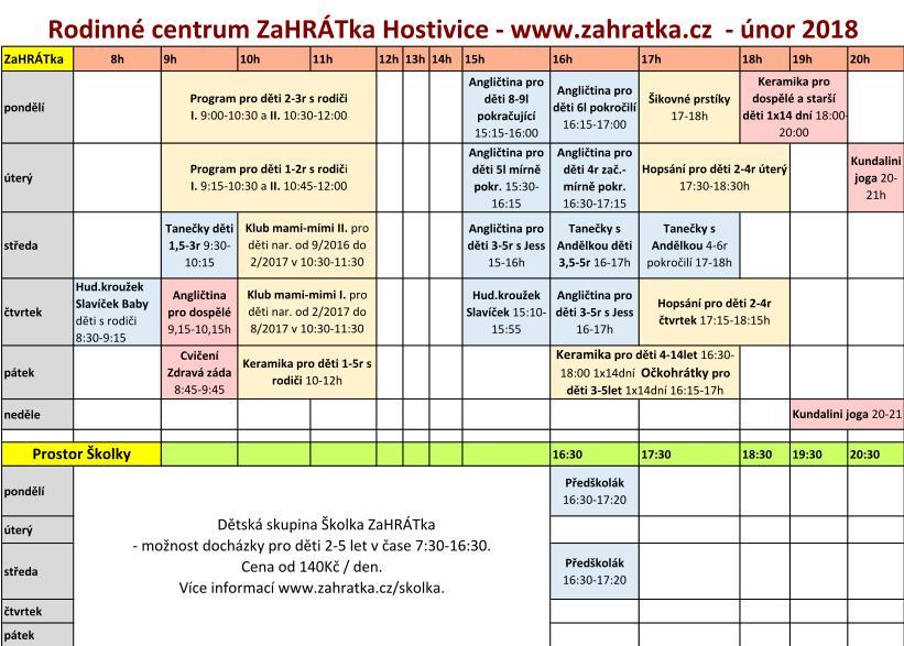 program 2017-2018 únor